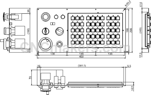 1000TII_Machine_control_panel _pushed_button_and_additional_panel